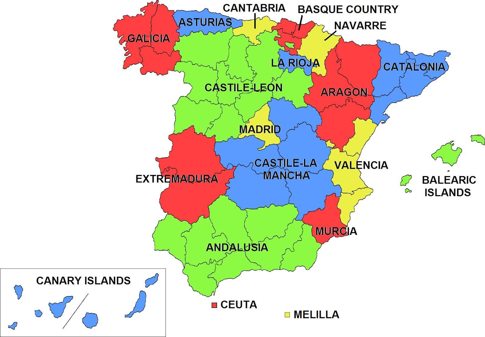 spania kart regioner Spania regioner kart   Kart over Spania og regioner (Sør Europa  spania kart regioner