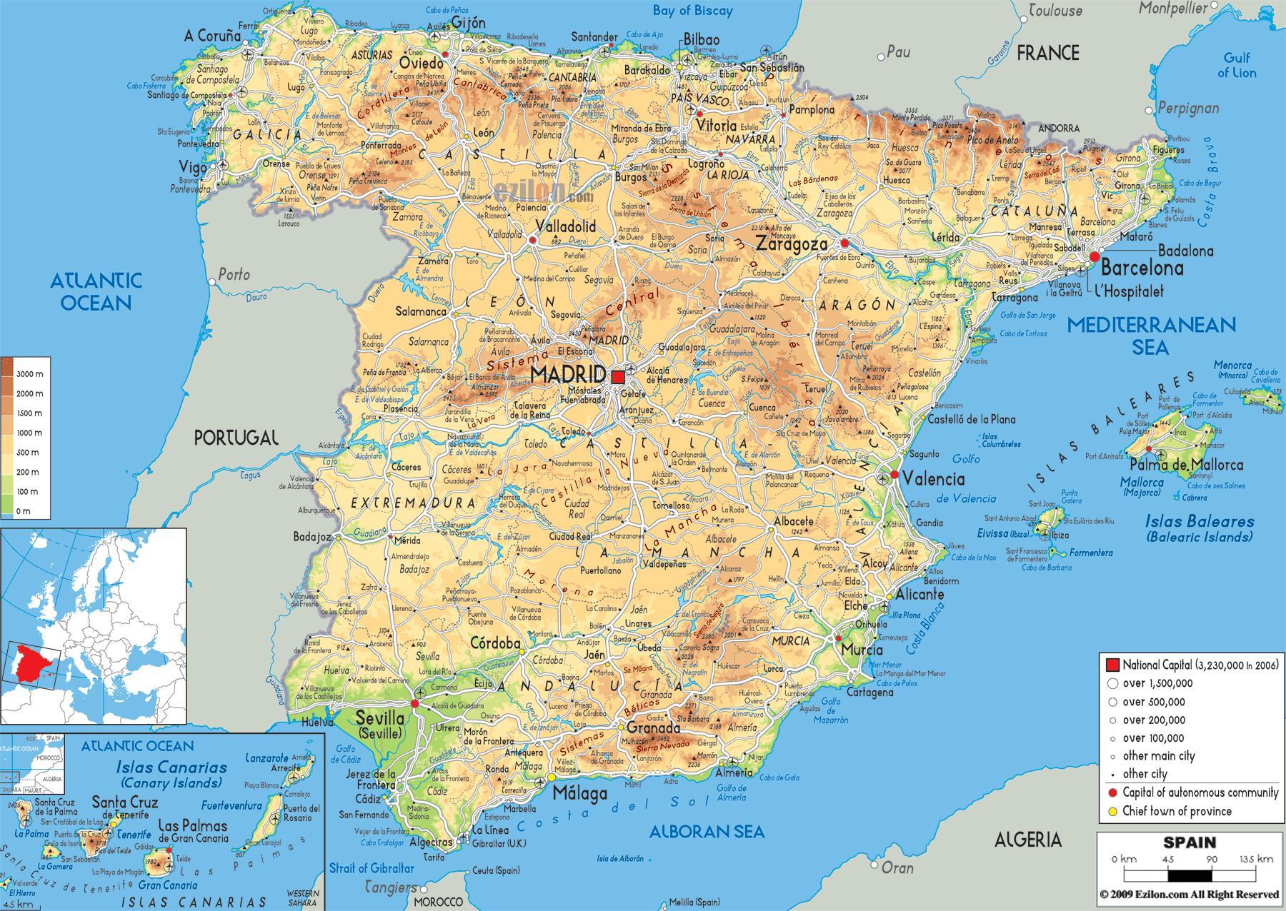 kart over spania Spania skoler kart   Kart over Spania skoler (Sør Europa   Europa) kart over spania