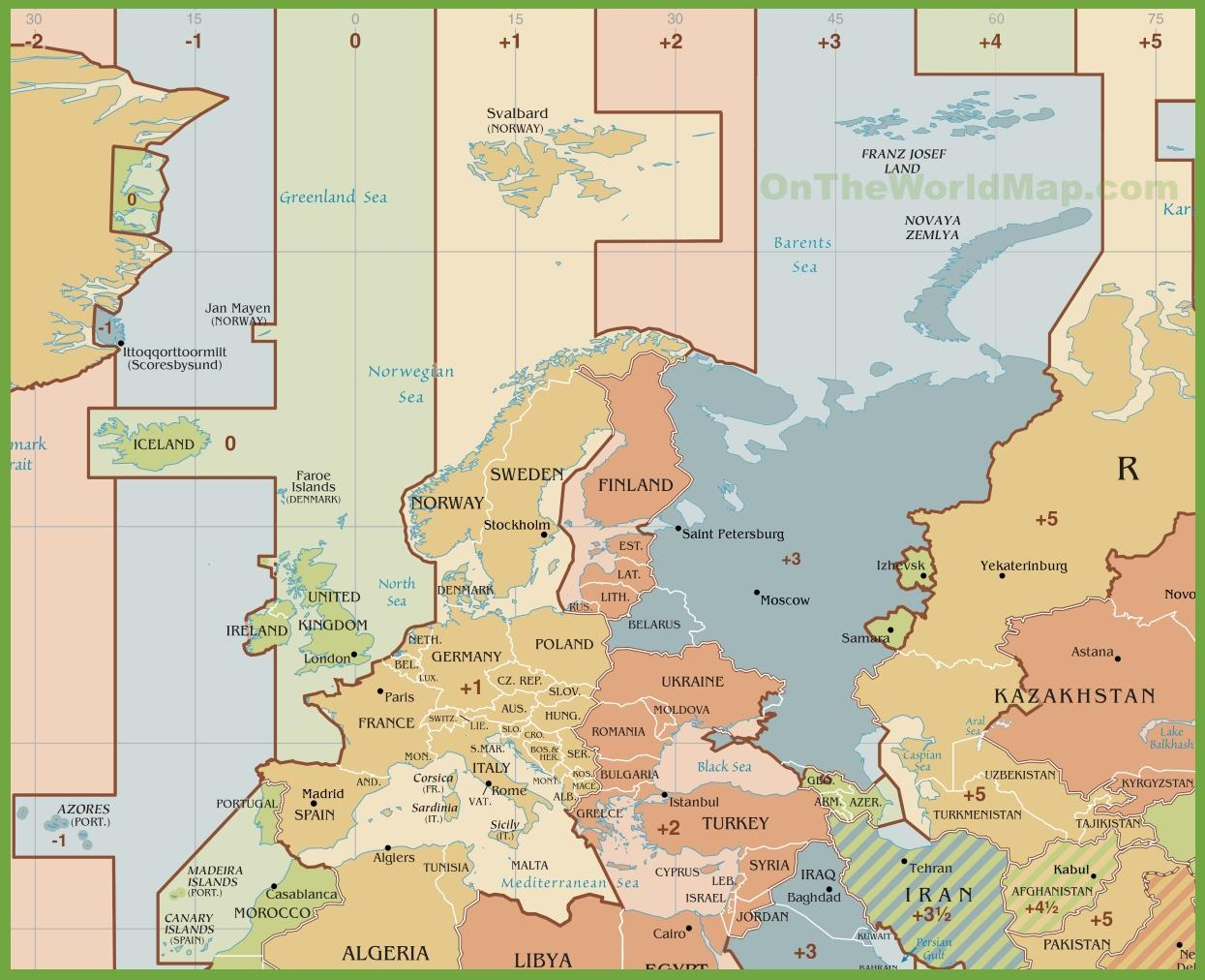 tidssoner europa kart Spania tidssone kart   Kart over Spania tidssone (Sør Europa   Europa) tidssoner europa kart