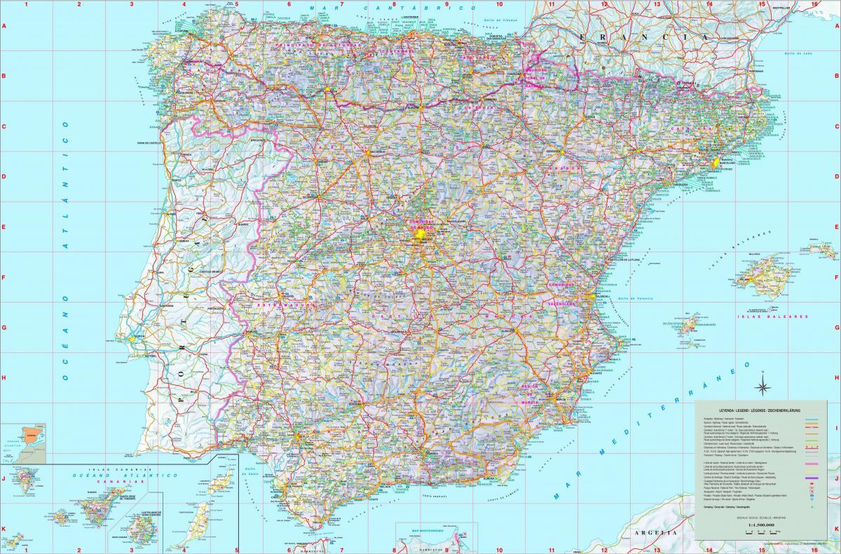spania kart Detaljert kart over Spania   Merket kart over Spania (Sør Europa  spania kart