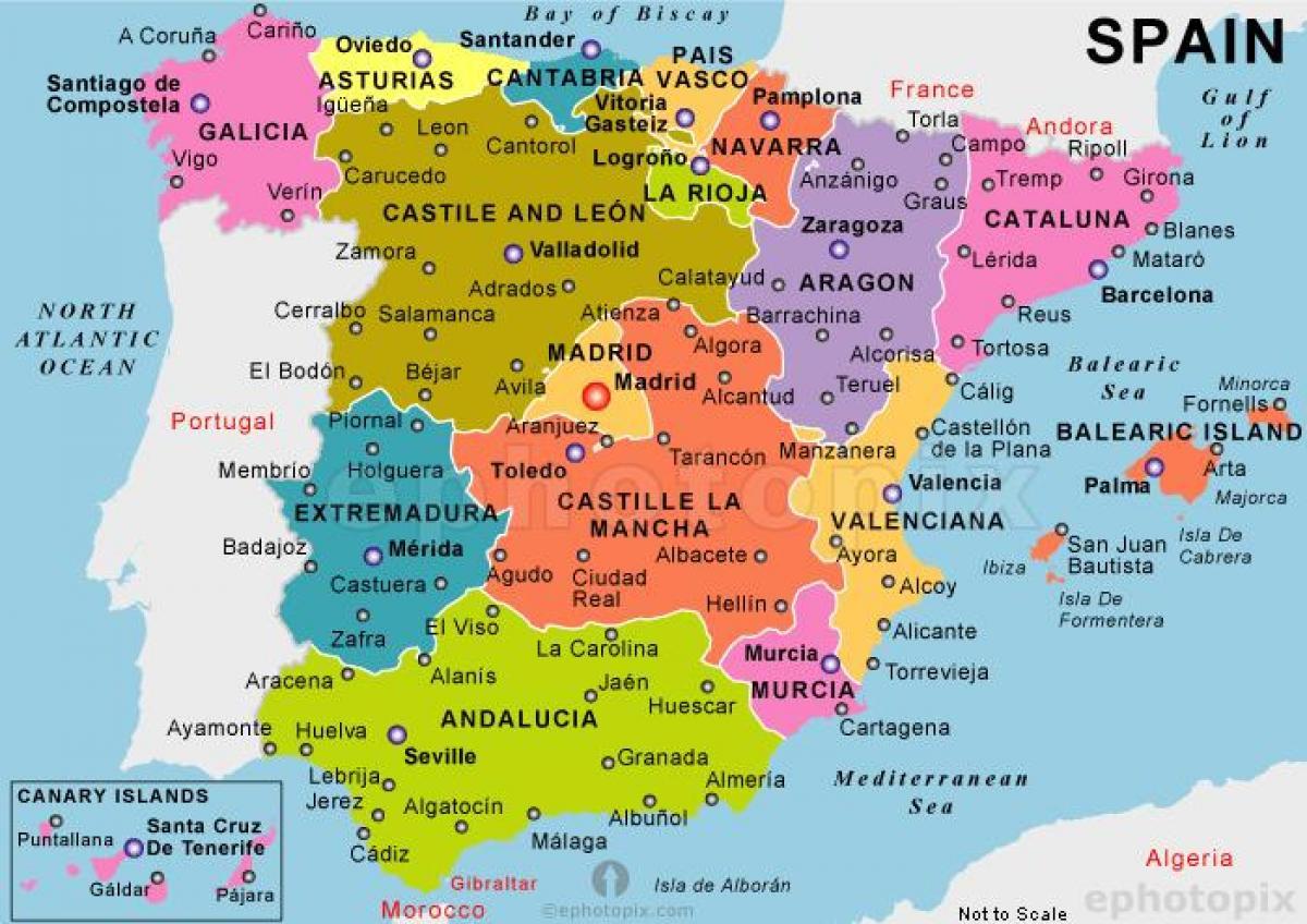 Et Kart Over Spania Beste Kart Over Spania Sor Europa Europa