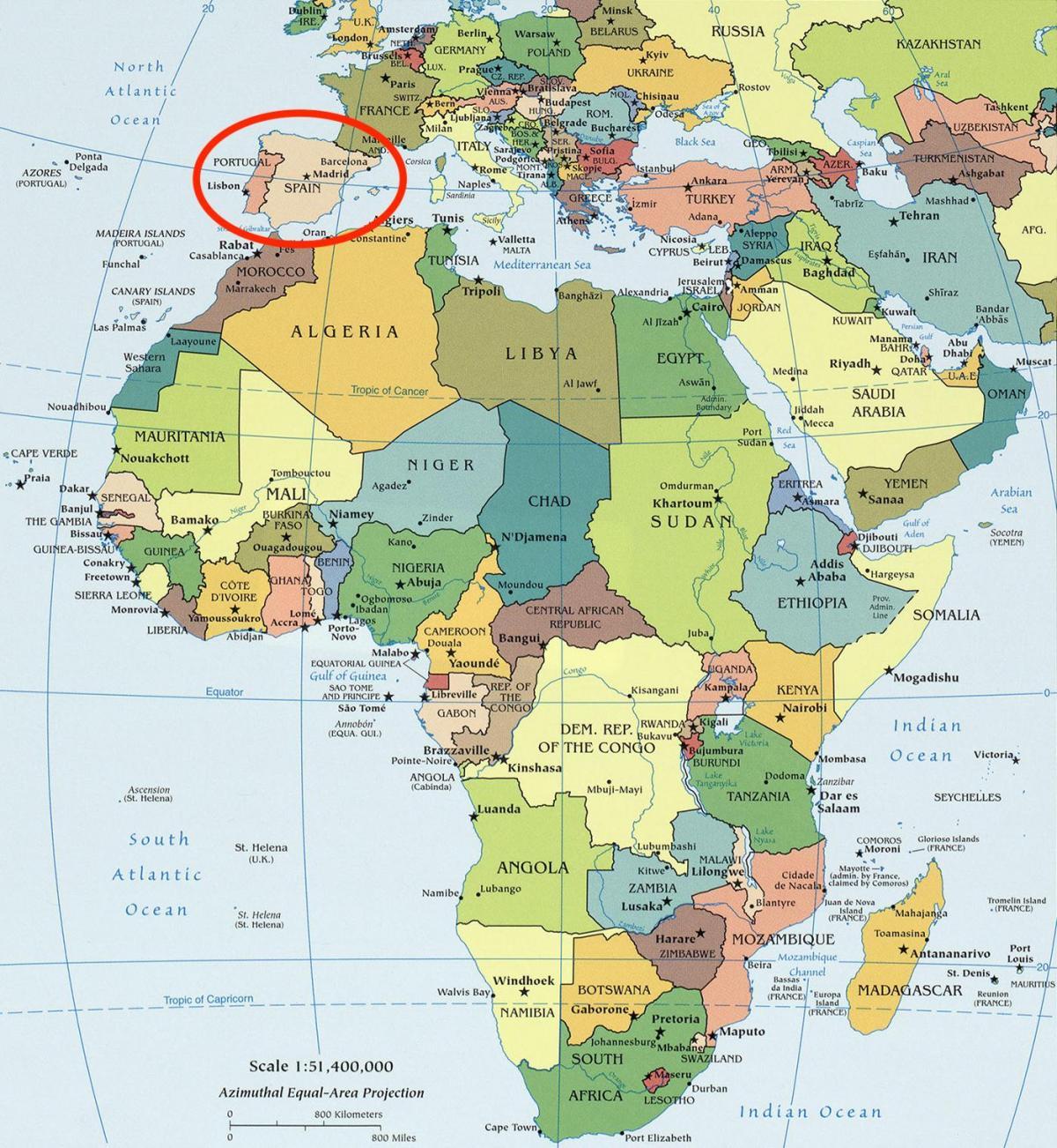 kart over europa og afrika Kart over Spania og afrika   Afrika og Spania kart (Sør Europa  kart over europa og afrika