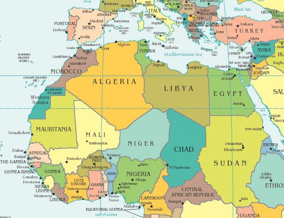 afrika land kart Spania afrika kart   Kart over Spania afrika (Sør Europa   Europa) afrika land kart