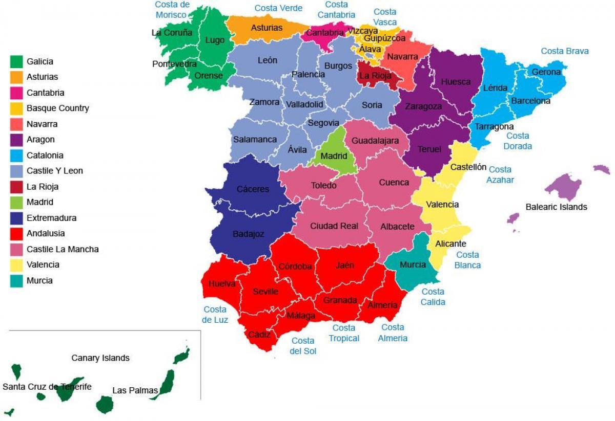 spania kart regioner Spania provinser kart   Spania kart regioner, provinser (Sør  spania kart regioner