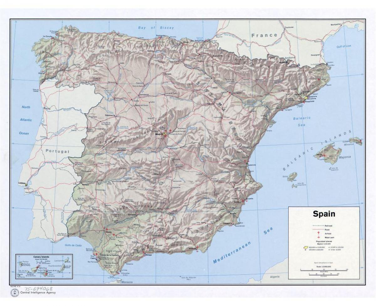 stort kart Stort kart over Spania   Kart over Spania stor (Sør Europa   Europa) stort kart